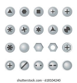 Screw and bolt heads set. Isolated vector design elements.