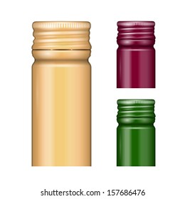 Screw bottle caps in different colors. Vector illustration. Packaging collection.