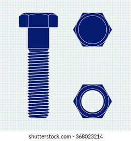 Screw. Screw head and nut.  Vector illustration on Notebook sheet texture background