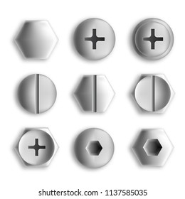 Screw heads isolated on white. Set of metal screws and bolts. Vector illustration