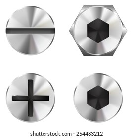 Screw heads - vector drawing isolated on white background