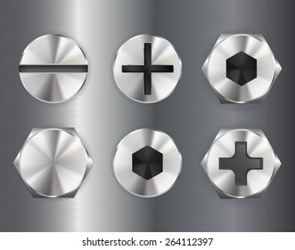 Screw heads.    Vector illustration isolated on metal background