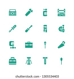 screw icon set. Collection of 16 filled screw icons included Auger, Screw, Corkscrew, Toolbox, Handsaw, Clamp, Screwdriver