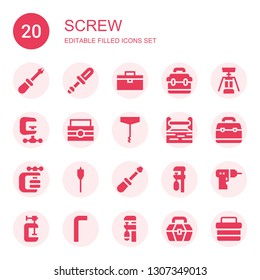 screw icon set. Collection of 20 filled screw icons included Screwdriver, Toolbox, Corkscrew, Clamp, Vise, Auger, Driller, Allen keys