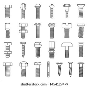 Screw-bolt industrial icons set. Outline set of screw-bolt industrial vector icons for web design isolated on white background