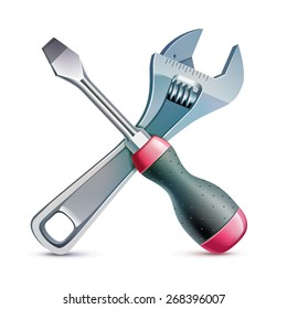 Screwdriver and adjustable wrench, realistic vector