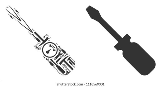 Screwdriver collage of workshop tools. Vector screwdriver icon is formed of gearwheels, spanners and other machinery items. Concept of technical workshop.