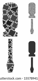 Screwdriver composition of tremulant elements in variable sizes and color tones, based on screwdriver icon. Vector tremulant elements are composed into composition.