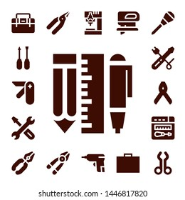 screwdriver icon set. 17 filled screwdriver icons.  Simple modern icons about  - Toolbox, Screwdriver, Pocket knife, Tools, Repair, Pliers, Plier, Drill, Caulk gun, Fretsaw, Awl