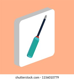 Screwdriver Simple vector icon. Illustration symbol design template for web mobile UI element. Perfect color isometric pictogram on 3d white square. Screwdriver icons for your business project