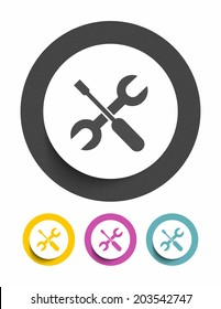 Screwdriver and wrench sign icon