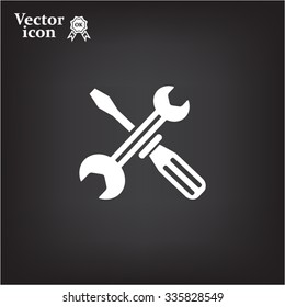 Screwdriver and Wrench. Tools vector icon.