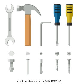 Screws, bolts and hand tools flat icons. Construction equipment and fixing.
