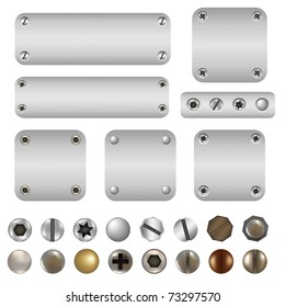 Screws And Bolts, Isolated On White Background, Vector Illustration