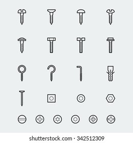 Screws, bolts and nuts icon set in linear style