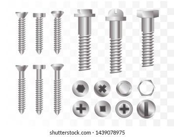 Screws and bolts set. Vector illustration