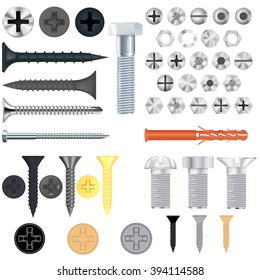 Screws, bolts. Set. Vector illustration isolated on white background