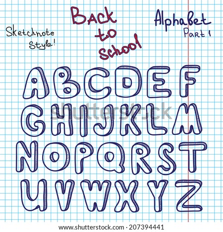 Alphabet Graph scribble alphabet hand drawing vector letters stock vector (royalty