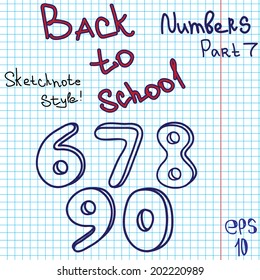 Scribble alphabet. Numbers. Hand drawing vector letters. Graph paper. Back to school theme. Part 7