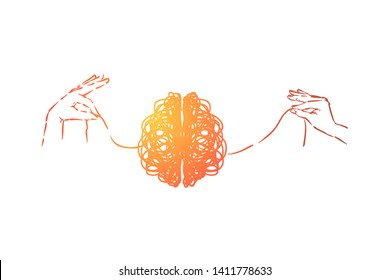 Scribble brain, hands untangling mind thread, problem solving metaphor. Neurological problem, disease, psychological help, depression and obsession concept sketch. Hand drawn vector illustration