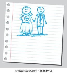 Scribble bride and groom