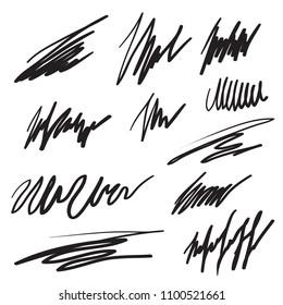 Scribble brush strokes set, vector logo design element