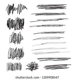 Scribble brush strokes set, vector logo design element. Hand drawn vector pencil scratched lines