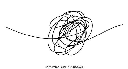 Scribble chaos line brush stroke, vector doodle sketch circle. Hand drawn design