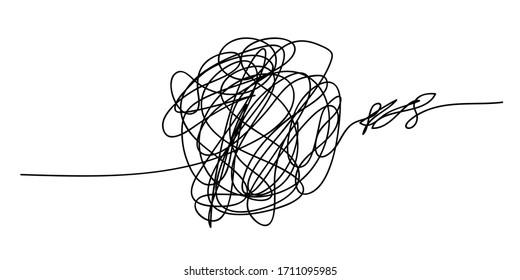 Scribble chaos line brush stroke, vector doodle sketch circle. Hand drawn design