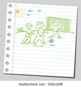 Scribble children playing soccer