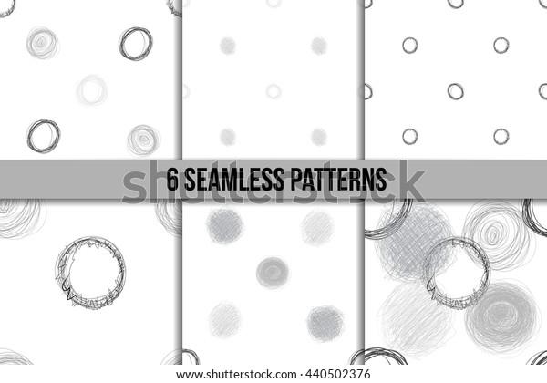 Scribble Circles Seamless Pattern Set