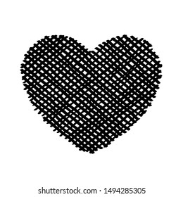 Scribble diagonal hatching criss cross Black heart, symbol love for Valentines Day. Backdrop hand drawn image. Sketch shaded badges shape. Monochrome vector design element. Isolated illustration. Eps1