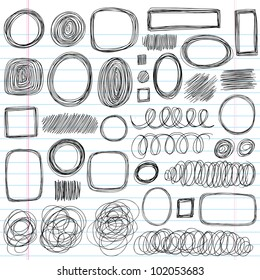Scribble Doodles Sketchy Back to School Notebook Vector Illustration Design Elements on Lined Sketchbook Paper Background