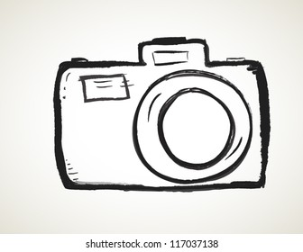 Scribble Hand drawn camera icon vector