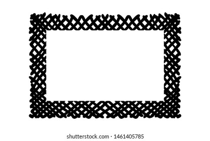 Scribble hatching criss cross along the rim frame rectangle. Hand drawn symbols. Sketches shaded and hatched badges and stroke shapes. Monochrome vector design elements. Isolated illustration. EPS 10.