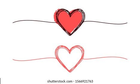 Scribble hearts hand drawn with thin line, divider shape. Ink brush painted red heart for Valentine's day. Isolated on white background. Vector illustration
