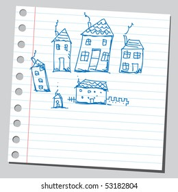 Scribble houses drawing