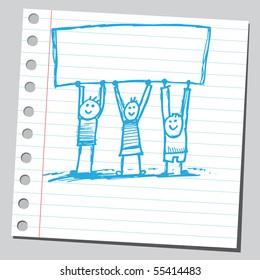 Scribble kids holding banner
