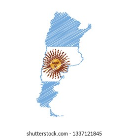 Scribble map of Argentina. Sketch Country map for infographic , brochures and presentations. Vector illustration eps 10.