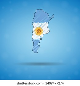 Scribble map of Argentina. Sketch Country map for infographic, brochures and presentations, Stylized sketch map of Argentina. Vector illustration eps 10.
