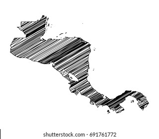 Scribble map of Central America. Sketch hand drawn, black map isolated on white background. Vector illustration eps 10.