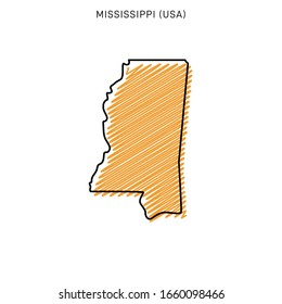Scribble Map of Mississippi Design Template