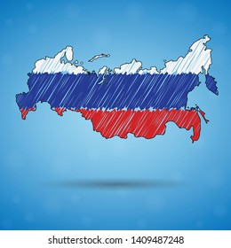 Scribble map of Russia. Sketch Country map for infographic, brochures and presentations, Stylized sketch map of Russia. Vector illustration eps 10.