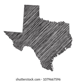Scribble map of Texas. Sketch Country map black for infographic , brochures and presentations. isolated on white background. Vector illustration eps 10.