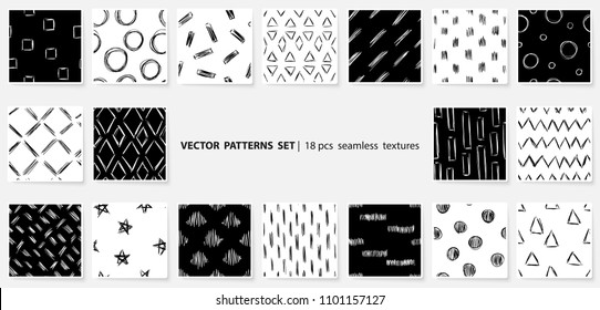 Scribble patterns set. Doodles backgrounds. Quirky sketches. Scrawl elements. Hand drawn effect vector. Pen lines. Simple strokes seamless textures.