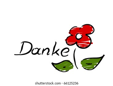 """Scribble of red flower with german """"Danke"""" (Thank you) - vector."""
