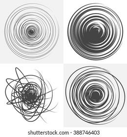 Scribble. Set of four abstract grunge background. Spiral concentric pattern. Black and white vector design elements. Round shape.