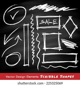 Scribble shapes hand drawn in chalk on chalkboard background , vector design elements