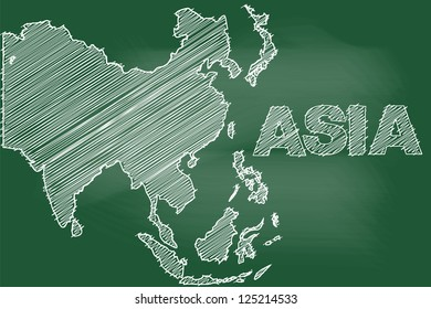 scribble sketch of asia map on blackboard