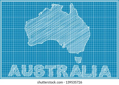 Blueprint australia images stock photos vectors shutterstock scribble sketch of australia map on blueprint malvernweather Images